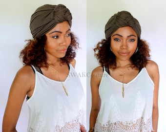 Turban Hat, Knot Turban Hat, Stretchy Cloche Cap, Womens Hat Cotton Jersey - Brown or Choose Your Color