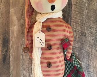 Primitive Folk Art Sleepy Christmas Farmhouse Snowman