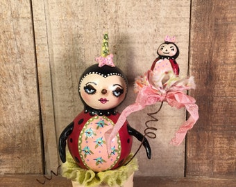 Folk Art Ladybug Paperclay Sculpture OOAK Spring Easter Collectible by MibrkyCreations