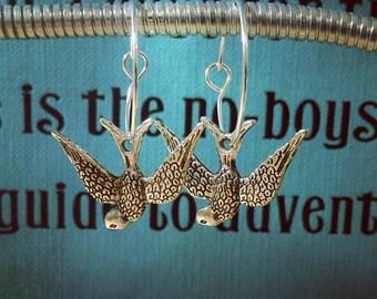Swallow Charm Hoop Earrings
