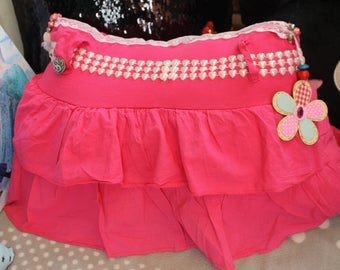 Cushion made from a ruffled skirt pink very girly