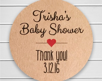Baby Shower Stickers, Baby Shower Labels, Brown Paper Stickers, Kraft Stickers (#198-KR)