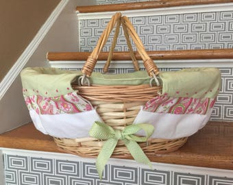 ON SALE Picnic/Doll basket with liner-hand embroidered accents Swing handles