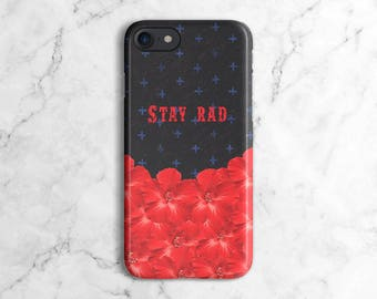Stay Rad Red Flower Pattern Phone Case for iPhone 6 / 6S / 6 Plus,  iPhone 7, iPhone 7 Plus, Samsung Galaxy S8 | DLC436