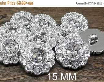 20% OFF CRYSTAL CLEAR Rhinestone Buttons Round Buttons Garment Buttons Diy Embellishments Bridal Buttons Sewing Buttons 15mm 2997 2R