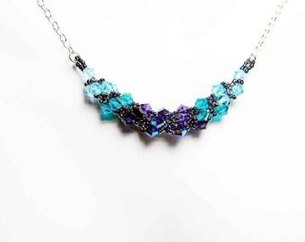 "Blue Zircon Swarovski Necklace Purple Velvet Aquamarine Beadweaving Sterling Silver - ""Phaedra's Garland"""