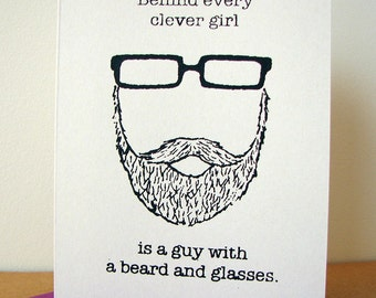 Behind Every Clever Girl is a Guy with a Beard and Glasses card (valentine purple)