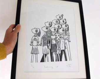 Looking Up - handmade original lino print, people, black and white, portrait, humour, printmaking, illustration, linocut, hand pulled print