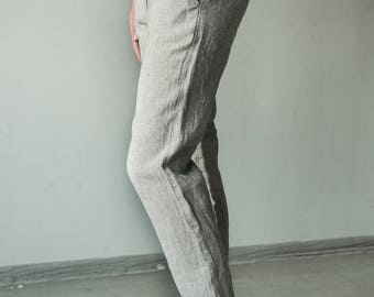 Loose fit linen pants with black and white stripes, chino pants, tapered trousers, womens pants, business pants, casual pants, white pants