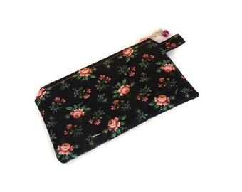 "Pink Little Roses Zipper Coin Purse, Earbud Case, Coin Case, Zipper Case, Coin Purse, Zipper Pouch 3"" x 5"""