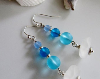 Blue Sea Glass Earrings, Frosted Sea Glass, Blue, Frosted White Glass, Long Earrings, Beach Wedding, Bridesmaid Jewelry, Beach Wedding