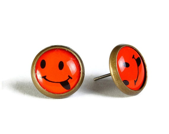 Sale Clearance 20% OFF - Orange smile hypoallergenic stud earrings (500)