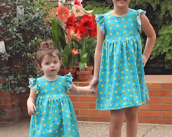 Mila's Knit Flutter Top and Dress PDF Pattern sizes 2T to 14 girls