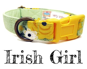 "LAST ONES Vintage Inspired Collar - Floral Roses Dog Collar - Girl Collar - Shabby Chic Dog Collar - Antique Metal Hardware - ""Irish Girl"""