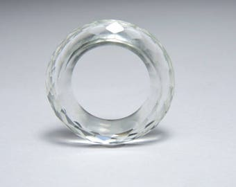 1 Piece Attractive Natural Rock Crystal Quartz Full Faceted Gemstone Made Ring Band/Fashion Jewellery/Gemstone Jewellery.
