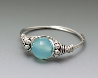 Aqua Blue Chalcedony Bali Sterling Silver Wire Wrapped Bead Ring - Made to Order, Ships Fast!