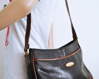 Rosetti Purse, Faux Leather, Black , Brown Shoulder Bag