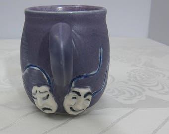 Comedy and Tragedy Theater Masks Mug - Handmade Pottery - Royal Purple - Porcelain Cup