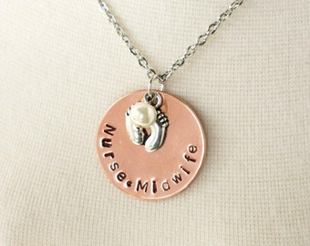 Nurse Midwife - Gift - Hand Stamped - Copper Disk Necklace