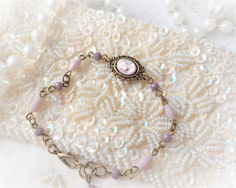 Victorian cameo bracelet purple and Pearl grain of rice