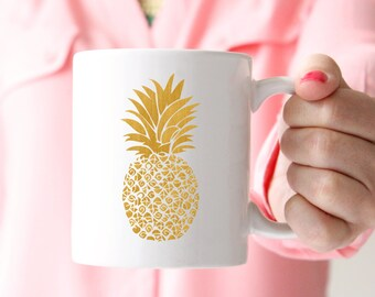 Gold Pineapple Mug - Gold Gifts - Coffee Mug - Tea - Chic - Boho - Preppy Mug - Office Decor - Hustle - Work Hard