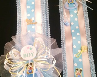 Blue Baby Mickey Mouse Baby Shower Sash & Tie Set