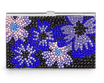 Midnight Bloom Elegant Business Card Case Encrusted With Swarovski Crystals