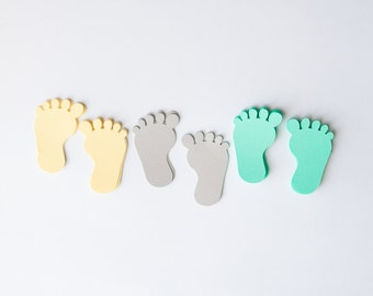 Baby shower confetti, Baby Feet Confetti, Baby shower, yellow grey and mint, baby party, shower decorations, feet confetti, set of 60