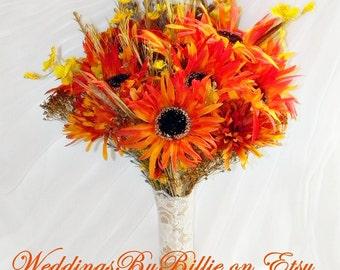 Fall Sunflower Wedding Bouquet Orange Ivory Bouquet Fall