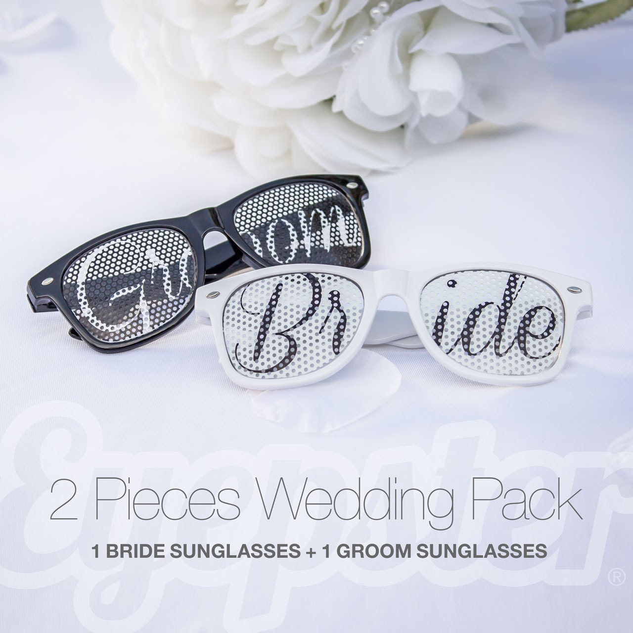 BRIDE & GROOM Retro Party Wedding Sunglasses PACK