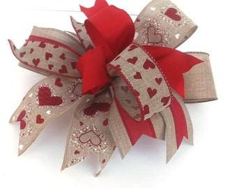 Whimsical Valentine's Day burlap bow for wreaths, mantle bow, lantern bow, holiday decoration, gift bow, Valentine decorations