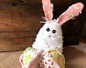 Easter Bunny with Fabric Eggs Shabby Spring Decor Bowl Fillers Stuffed Rabbit Table Centerpiece Easter Basket Filler Ready to Ship
