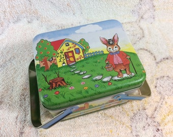 Cute Easter Tin with Handles Bunnies Rabbits Cottage Home Decor