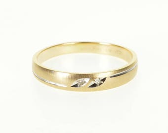 10k Diamond Grooved Rounded Textured Wedding Band Ring Gold