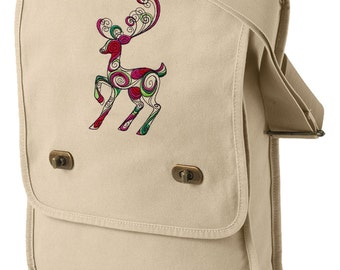 Doodle Deer Embroidered Canvas Field Bag