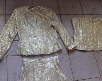 Vintage Gold Lace Overlay YOLANDA Pantsuit    Sz 10