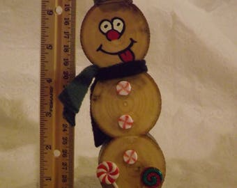 Peppermint Candy Wood Slice Snowman Christmas Decoration