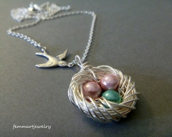 Birds Nest Necklace - Swallow Bird - Family of Birds - Silver - Mother's Day Gift - Mother of the Bride - Mommy Necklace - femmart