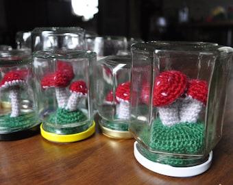 Crochet Toadstool Terrarium in Recycled Jar