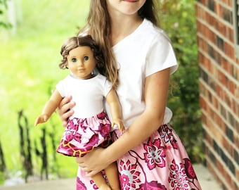 Matching Girl and Doll Clothes - Fits American Girl Doll - Twirl Skirts in Ornate Floral Pink, Many Sizes Available