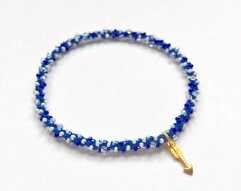 Stackable golden arrow yoga charm bracelet Ajna (third eye chakra)