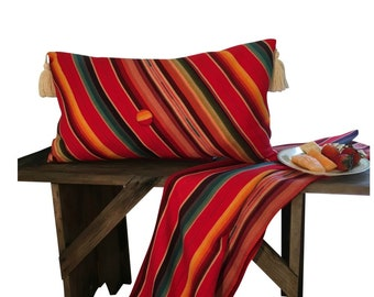 Red Lumber Pillow, Stripped Long Pillow, Bright Long Pillow, Serape Fabric, Orange Pillow Stripes, Mexican Style Décor