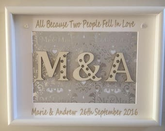 Custom Made & Personalised All Because Two People Fell In Love Large White Wedding Marriage Frame