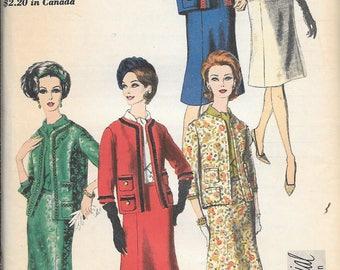 Vintage 1960s Vogue 5462 SPECIAL DESIGN Dress Blouse Jacket And Skirt Suit Sewing Pattern Size 14 Bust 34 Mad Men