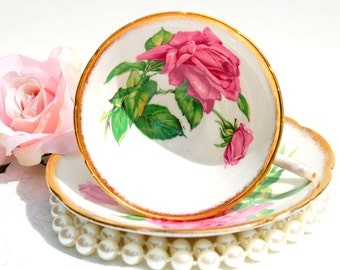 Antique Tea Cup and Saucer. English Fine Bone China Tea Set. Pink Roses Tea Cup.Tea Party, Bridal Shower,Favor,Mothers Day Gift