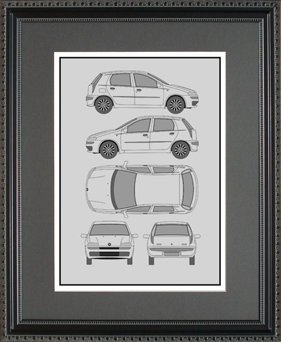 Fiat blueprint framed art car auto gift choose your model like this item malvernweather Choice Image