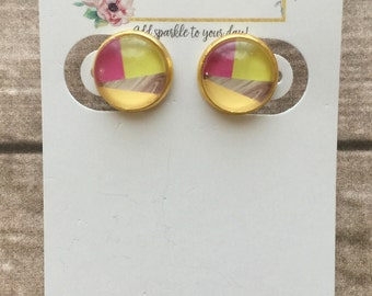 12mm Pink and Lemon Gold Earrings