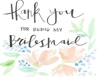 Bridesmaid Thank You Cards