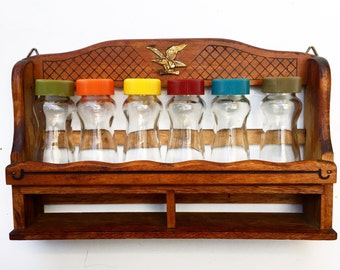 Vintage Spice Rack with 6 Glass Bottles (1970s)