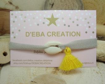 """Le bracelet """"Cauri"""" gris & jaune"""